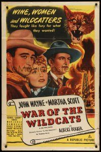 2g429 IN OLD OKLAHOMA 1sh R50 John Wayne, Dekker & Blackmer as Roosevelt, War of the Wildcats!