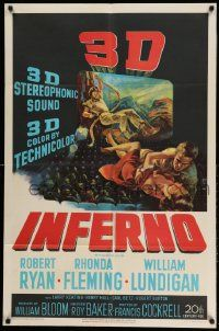 2g431 INFERNO 3D 1sh '53 3-D image of William Lundigan & Rhonda Fleming embracing over audience!