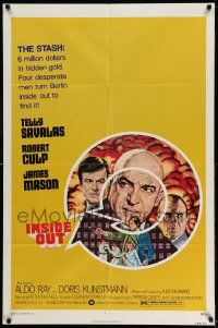 2g433 INSIDE OUT 1sh '75 art of Telly Savalas, James Mason & Robert Culp in Nazi Germany!