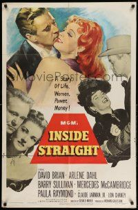 2g434 INSIDE STRAIGHT 1sh '51 David Brian kissing sexy redhead Arlene Dahl, who is also full-length!