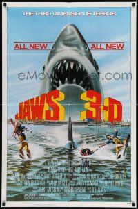 2g441 JAWS 3-D 1sh '83 great Gary Meyer shark artwork, the third dimension is terror!