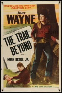 2g445 JOHN WAYNE 1sh '40s great image of The Duke, The Trail Beyond!