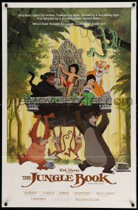 2g449 JUNGLE BOOK 1sh R84 Walt Disney cartoon classic, great image of Mowgli & friends!