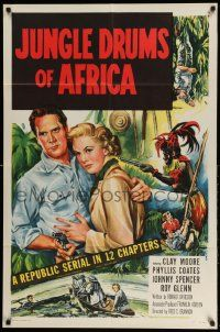 2g451 JUNGLE DRUMS OF AFRICA 1sh '52 Clayton Moore with gun & Phyllis Coates, Republic serial!