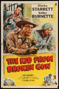2g459 KID FROM BROKEN GUN 1sh '52 art of Charles Starrett, Smiley Burnette & Jock Mahoney!