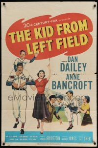 2g460 KID FROM LEFT FIELD 1sh '53 Dan Dailey, Anne Bancroft, baseball kid argues with umpire!