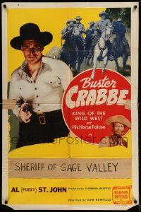 2g461 KID RIDES AGAIN 1sh R48 Buster Crabbe as Billy the Kid pointing gun, Falcon, Fuzzy!