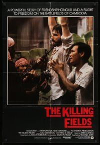 2g464 KILLING FIELDS int'l 1sh '84 image of Sam Waterston & Haing S. Ngor threatened by Khmer Rouge