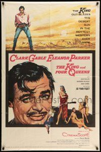 2g465 KING & FOUR QUEENS 1sh '57 full-length art of Clark Gable, Eleanor Parker & sexy ladies!