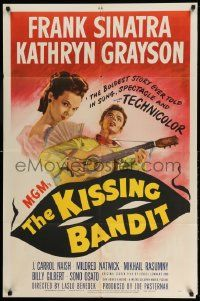 2g468 KISSING BANDIT 1sh '48 art of Frank Sinatra playing guitar & romancing Kathryn Grayson!