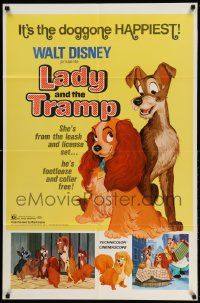 2g473 LADY & THE TRAMP 1sh R72 Disney classic dog cartoon, great image with Jock!