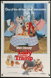 2g474 LADY & THE TRAMP 1sh R80 Walt Disney classic cartoon, best spaghetti scene image!