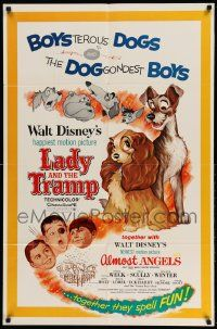 2g476 LADY & THE TRAMP/ALMOST ANGELS 1sh '62 Walt Disney double-bill w/cool canine art!