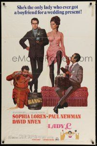 2g478 LADY L style B 1sh '66 cool art of sexy Sophia Loren, Paul Newman & David Niven!