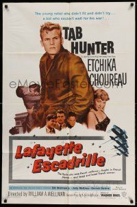 2g479 LAFAYETTE ESCADRILLE 1sh '58 Tab Hunter was a young rebel who couldn't wait for WWI!