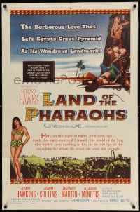 2g480 LAND OF THE PHARAOHS 1sh '55 sexy Egyptian Joan Collins, Howard Hawks!