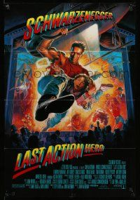 2g481 LAST ACTION HERO int'l DS 1sh '93 cool artwork of Arnold Schwarzenegger by Morgan!