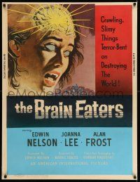 2j004 BRAIN EATERS 30x40 '58 classic horror art of girl's brain exploding, crawling slimy things!