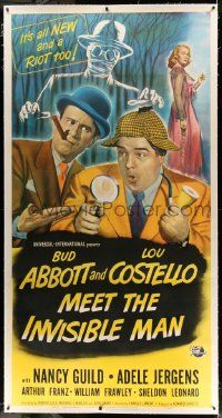 2j057 ABBOTT & COSTELLO MEET THE INVISIBLE MAN linen 3sh '51 art of Bud & Lou with monster, rare!