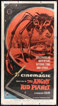 2j058 ANGRY RED PLANET linen 3sh '60 great artwork of gigantic drooling bat-rat-spider creature!