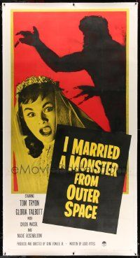 2j062 I MARRIED A MONSTER FROM OUTER SPACE linen 3sh '58 terrified Gloria Talbott & alien shadow!