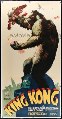 2j066 KING KONG linen S2 recreation 3sh '97 classic art of the fierce ape on Empire State Building!