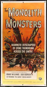 2j063 MONOLITH MONSTERS linen 3sh '57 mammoth skyscrapers of stone thundering across the Earth!