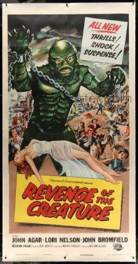 2j064 REVENGE OF THE CREATURE linen 3sh '55 best art of the monster over sexy girl by Reynold Brown!