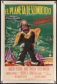 2j067 FORBIDDEN PLANET linen Argentinean '56 stone litho of Robby the Robot carrying Anne Francis!