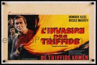 2j068 DAY OF THE TRIFFIDS linen Belgian '62 classic sci-fi, different art of Keel w/ flamethrower!