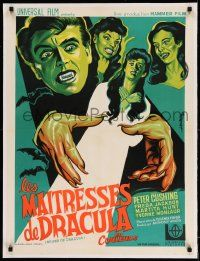 2j076 BRIDES OF DRACULA linen French 24x32 R60s Terence Fisher, Hammer, different art by Koutachy!