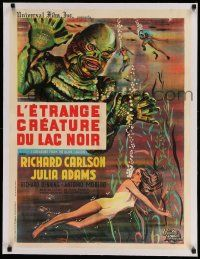 2j077 CREATURE FROM THE BLACK LAGOON linen French 24x31 R62 art of monster looming over Julia Adams!