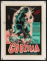 2j078 GODZILLA linen French 24x32 R50s Gojira, sci-fi classic, completely different art by Poucel!