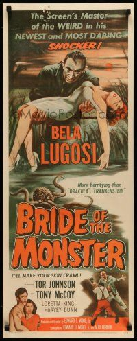 2j001 BRIDE OF THE MONSTER insert '56 Ed Wood, great art of Bela Lugosi carrying sexy girl!