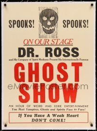 2j080 GHOST SHOW linen 23x32 stage show poster '30s Dr. Ross & His Spirit Mediums, weird & eerie!