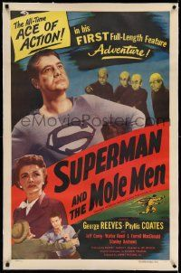 2j134 SUPERMAN & THE MOLE MEN linen 1sh '51 George Reeves in his 1st full-length feature adventure!