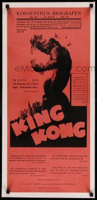2j069 KING KONG linen Swedish stolpe '33 classic art of the fierce ape crushing planes on building!