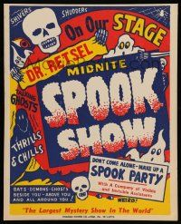 2j010 DR. RETSEL MIDNITE SPOOK SHOW Spook Show WC '50s bats, demons & ghosts all around you!