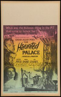 2j040 HAUNTED PALACE Benton WC '63 Vincent Price, Lon Chaney, Edgar Allan Poe, cool horror art!