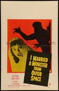 2j018 I MARRIED A MONSTER FROM OUTER SPACE WC '58 great image of Gloria Talbott & monster shadow!