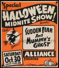 2j009 HALLOWEEN MIDNITE SHOW Spook Show jumbo WC '54 Sudden Fear & Mummy's Ghost, spooks, chills!