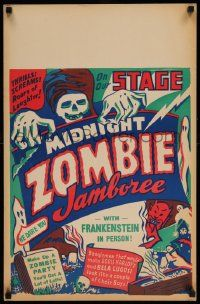 2j007 MIDNIGHT ZOMBIE JAMBOREE Spook Show jumbo WC '40s Frankenstein in person, really cool art!
