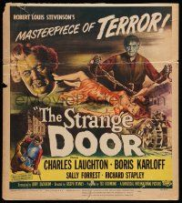 2j024 STRANGE DOOR WC '51 art of chained Boris Karloff, Charles Laughton & sexy Sally Forrest!