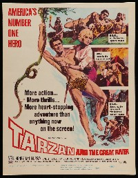 2j026 TARZAN & THE GREAT RIVER WC '67 art of Mike Henry in the title role w/sexy Diana Millay!