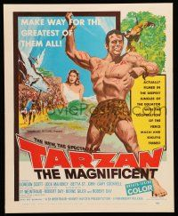 2j028 TARZAN THE MAGNIFICENT WC '60 artwork of barechested Gordon Scott, the greatest of them all!