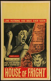 2j048 TWO FACES OF DR. JEKYLL Benton WC '61 House of Fright, art of burning face & scared woman!