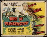 2k027 HOUSE OF FRANKENSTEIN 1/2sh R50 Boris Karloff, Lon Chaney Jr., best image with all monsters!