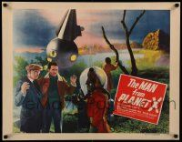 2k034 MAN FROM PLANET X style A 1/2sh '51 Edgar Ulmer, different image of alien & men by ship!