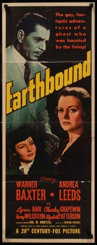 2k061 EARTHBOUND insert '40 ghost Warner Baxter, Andrea Leeds, directed by Irving Pichel!