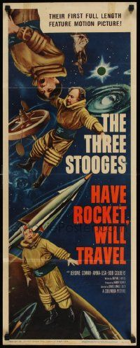 2k071 HAVE ROCKET WILL TRAVEL insert '59 wonderful sci-fi art of The Three Stooges in space!